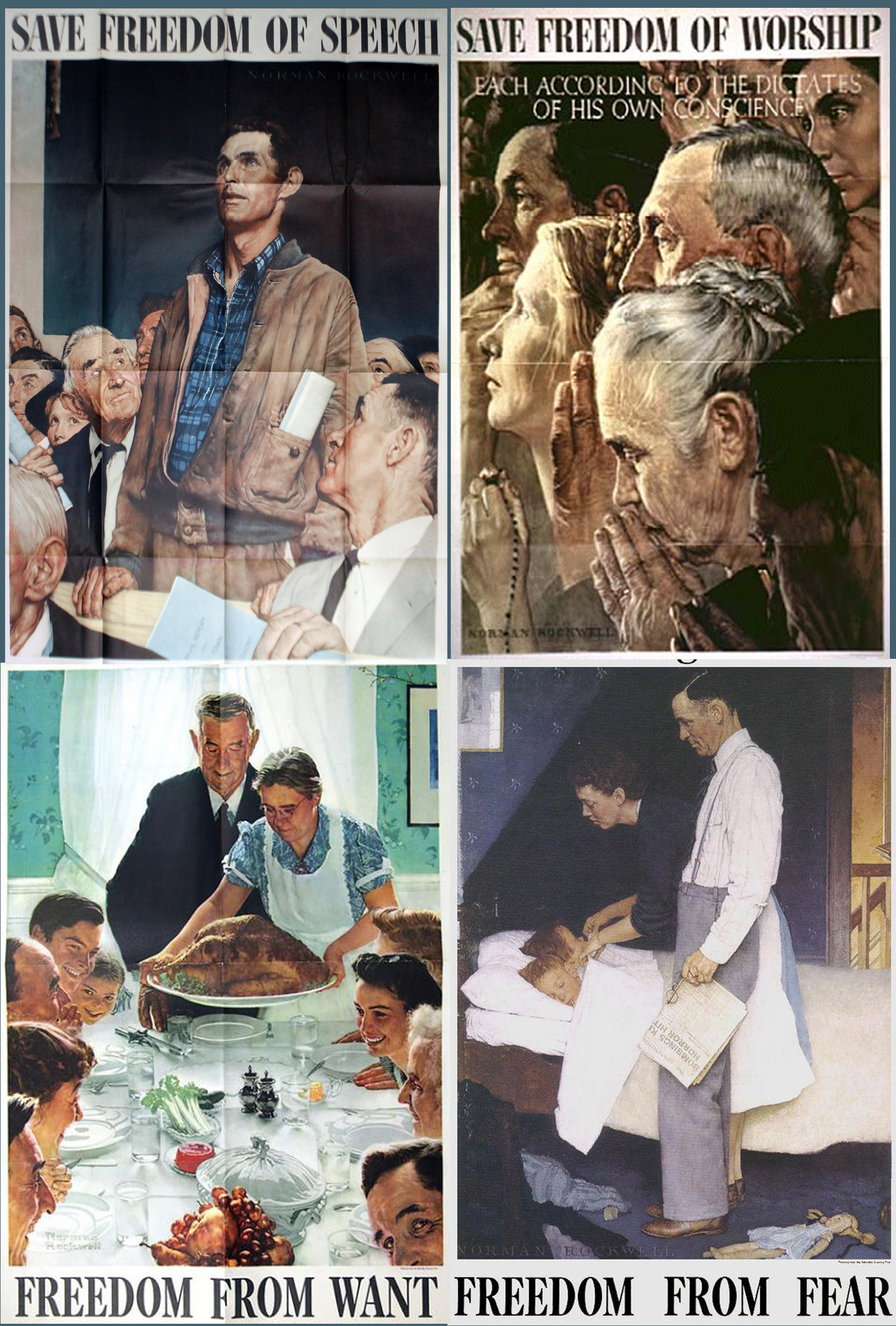 """four freedoms Eleven months before the us declared war on japan, president franklin d roosevelt said """"as men do not live by bread alone, they do not fight by armaments alone."""
