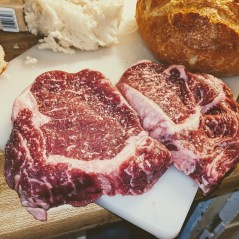 Nicely marbled boneless ribeyes.