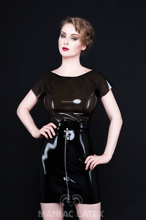 Seductive Blouse_Zip Skirt_Spikes'n'Stripes_Maniac Latex