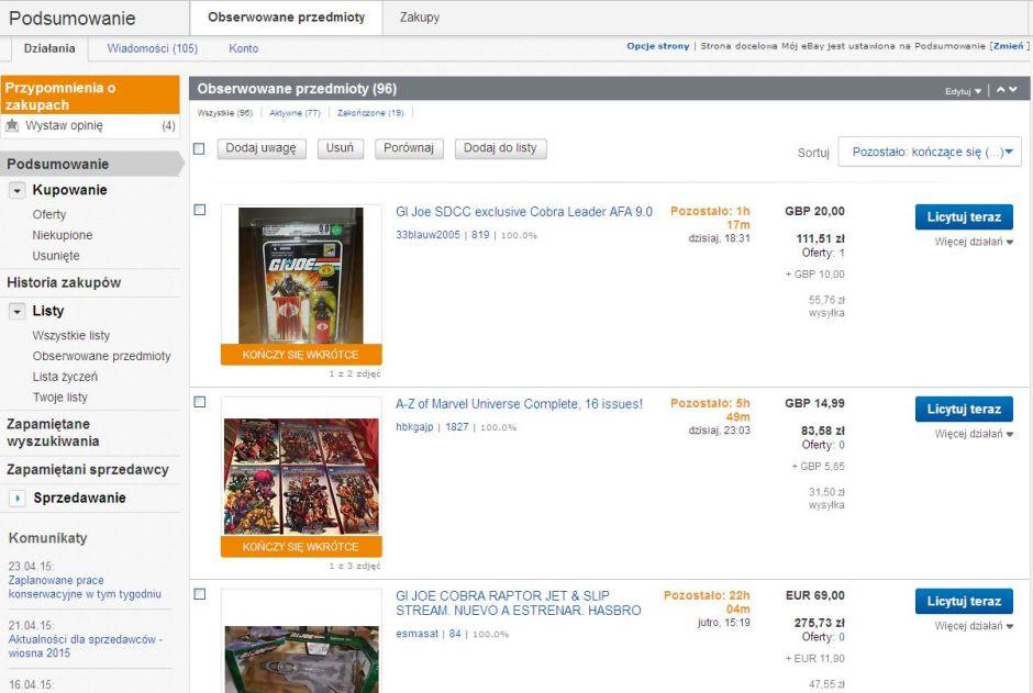 zakupy na eBay wygląd konta