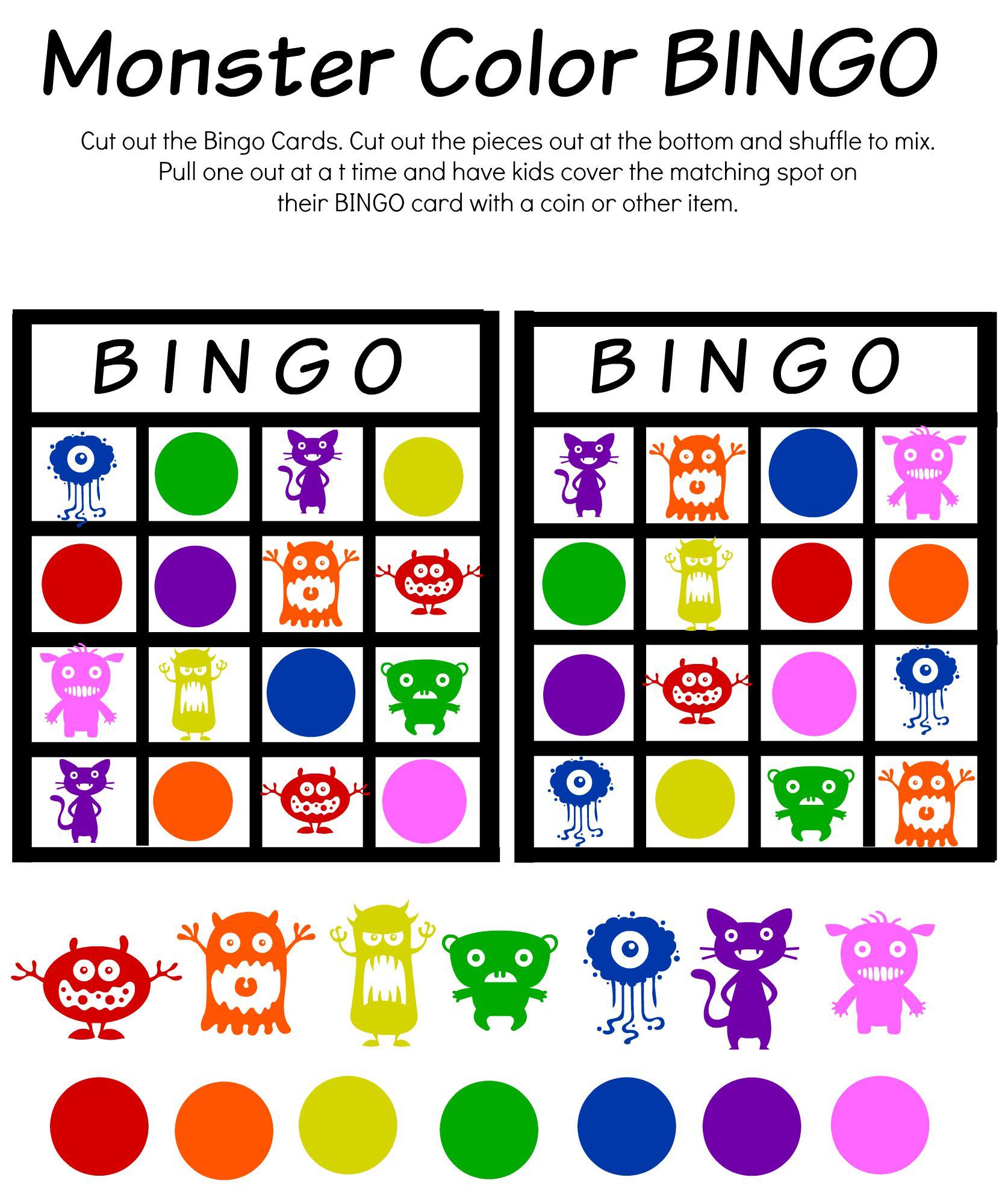 Monster Math And Bingo Printables Manic Mama Of 3 Rh Manicmamaof3 Com Color Printable Sheets