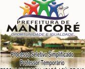 EDITAL DE PROCESSO SELETIVO SIMPLIFICADO N°. 001/2018 – DEFINE CRITÉRIOS PARA CONTRATAÇÃO TEMPORÁRIA DE PROFESSOR DA EDUCAÇÃO BÁSICA PARA ATUAÇÃO NA ZONA RURAL DO MUNICÍPIO DE MANICORÉ – ESPECÍFICO PARA ESCOLA MUNICIPAL IGAPÓ AÇÚ, BR 319, Km 245 (NÃO INDÍGENA).