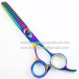 PET GROOMING DOG COAT THINNING SCISSORS TITANIUM RAINBOW CHUNKER