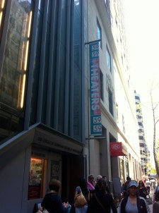 Here's the 59th St. Theater, where we saw a play called It's All in the Timing.