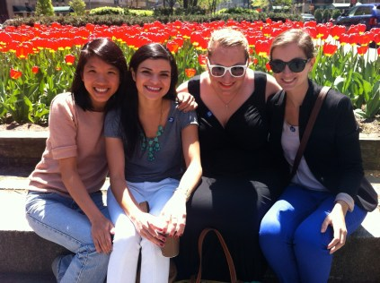 And here we all are in front of the tulips. This is one of my favorite pictures from the trip.