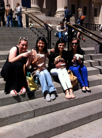 Here we are eating hot dogs on the Met steps. Please let this become a birthday tradition. :)