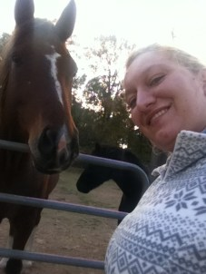 At Cheryl's farm with one of the horses.