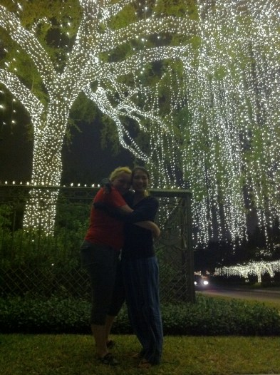 River Oaks Christmas lights with Christine.