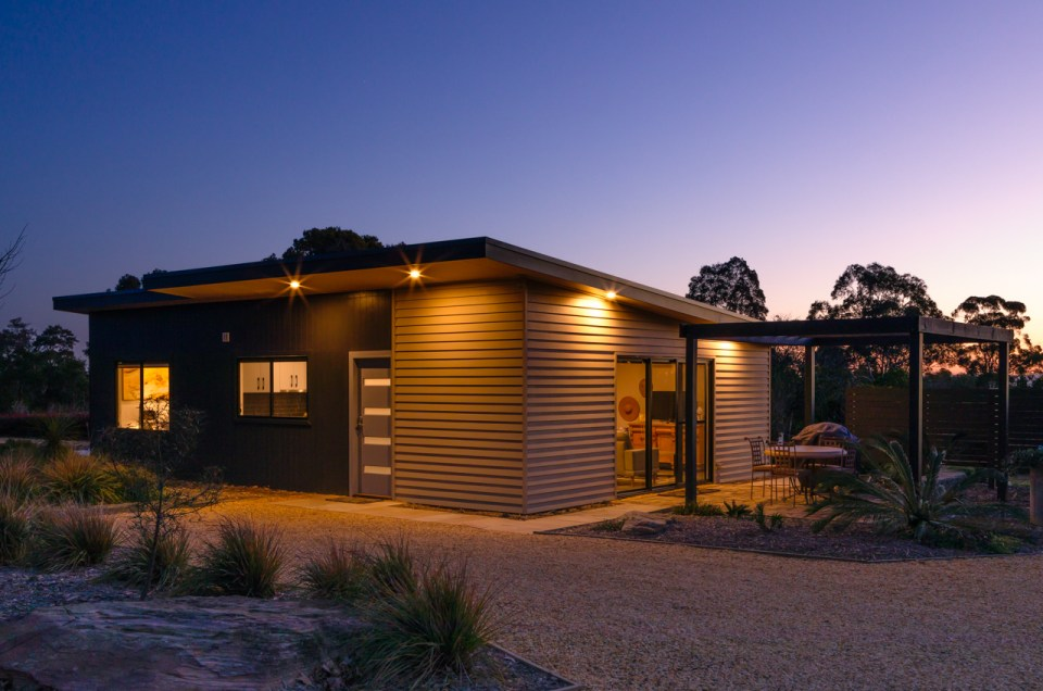 twilight photography of the folly accommodation in glenorie, nsw