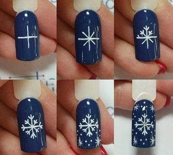 নখ জেল কলম ধাপে ধাপে ধাপে snowflake