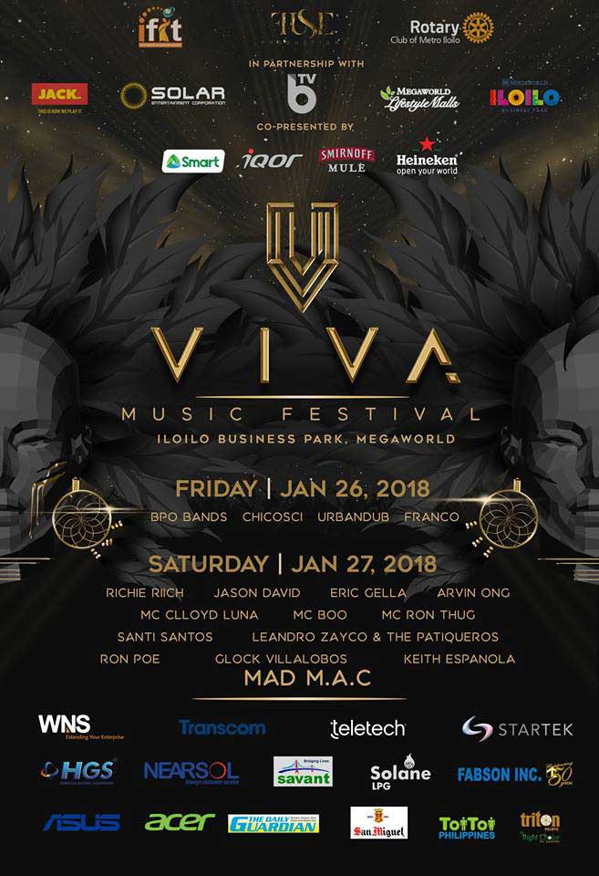 Poster of artists and details for Viva Music Festival 2018 in Iloilo