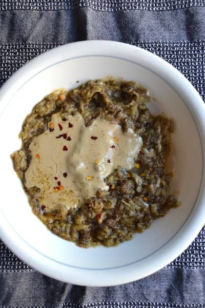 Add the tahini and the rest of ingredients Arabic Moutabal (Baba Ganoush) - Vegan. maninio.com