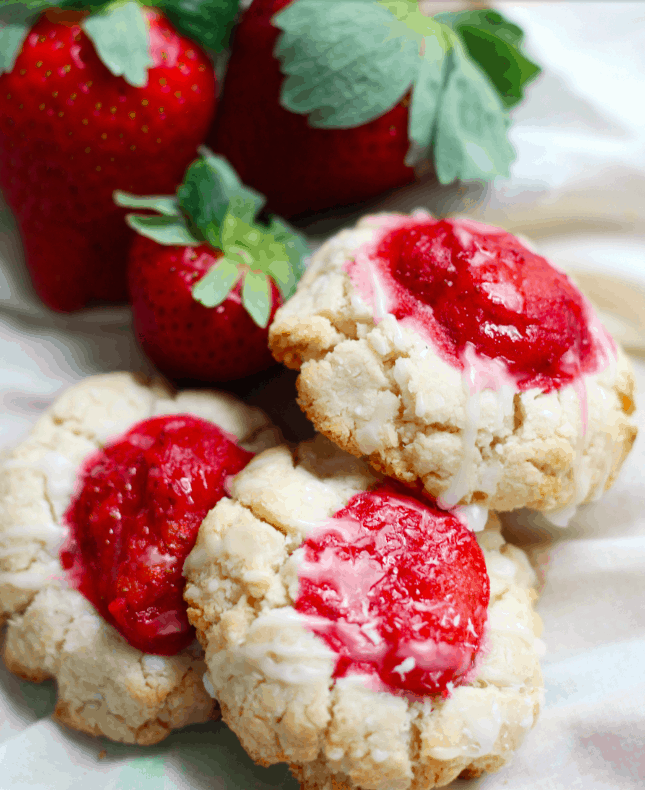 paleo strawberry coconut thumbprint cookies. Vegan & Sugar Free Valentine's Treats. maninio.com