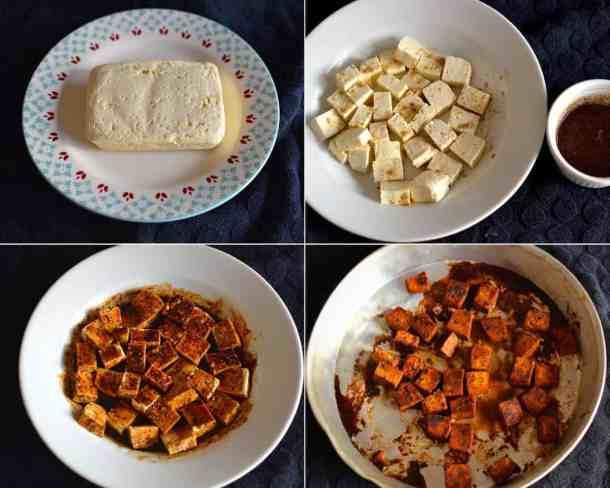 Προετοιμασία τόφου. Ψημένο τόφου με ρύζι λαχανικών και βασιλικόmaninio.com