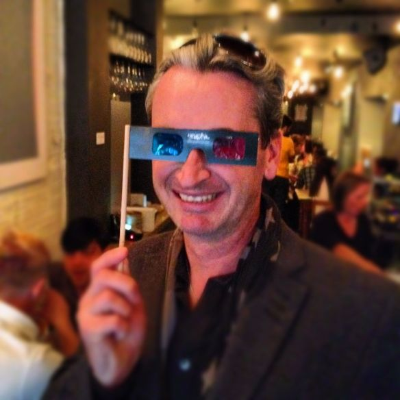 Alan Greenhalgh at launch of 3D Stereoscopic Paintings by Jim Sharp at Graphic Bar Soho London