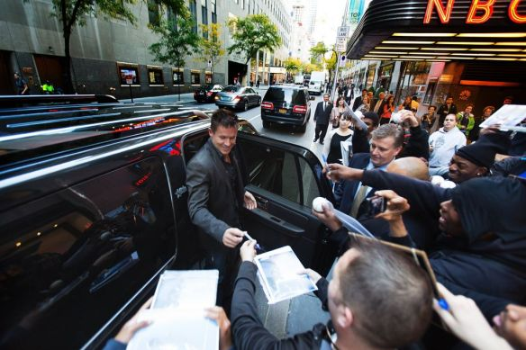 Felix Baumgartner of Austria greets his fans while entering the Jimmy Fallon Show at NBC Studios in New York City, NY on October 22, 2012 // Brian Nevins/Red Bull Content Pool