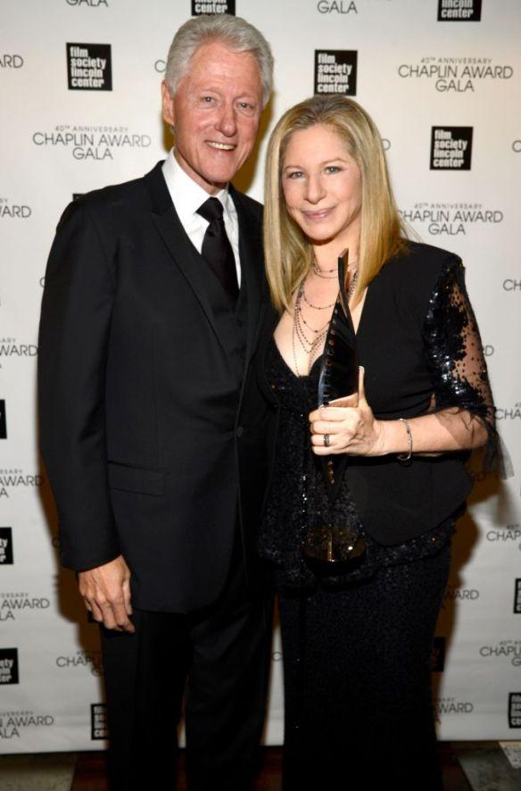 Former US President Bill Clinton and Barbra Streisand backstage at the 40th Anniversary Chaplin Award Gala