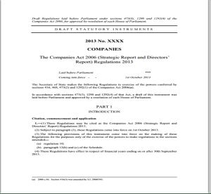 The Companies Act 2006 (Strategic Report and Directors' Report) Regulations 2013