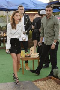 Lucy Watson and James Dunmore playing Boules on 26 August 2015 Roof East Stratford London