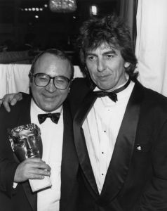 George Harrison and Bob Hoskins (Photo by Dave Hogan/Getty Images)