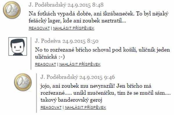 Z diskuse na lidovky.cz (lidovky.cz, výřez Roman Máca)