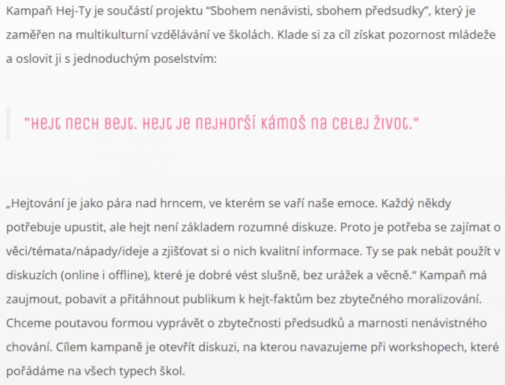 Informace o kampani (hej-ty.cz)