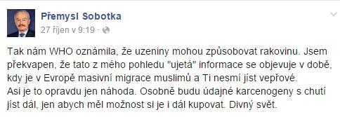 Screenshot z Facebookového profilu Přemysla Sobotky ( manipulatori.cz)