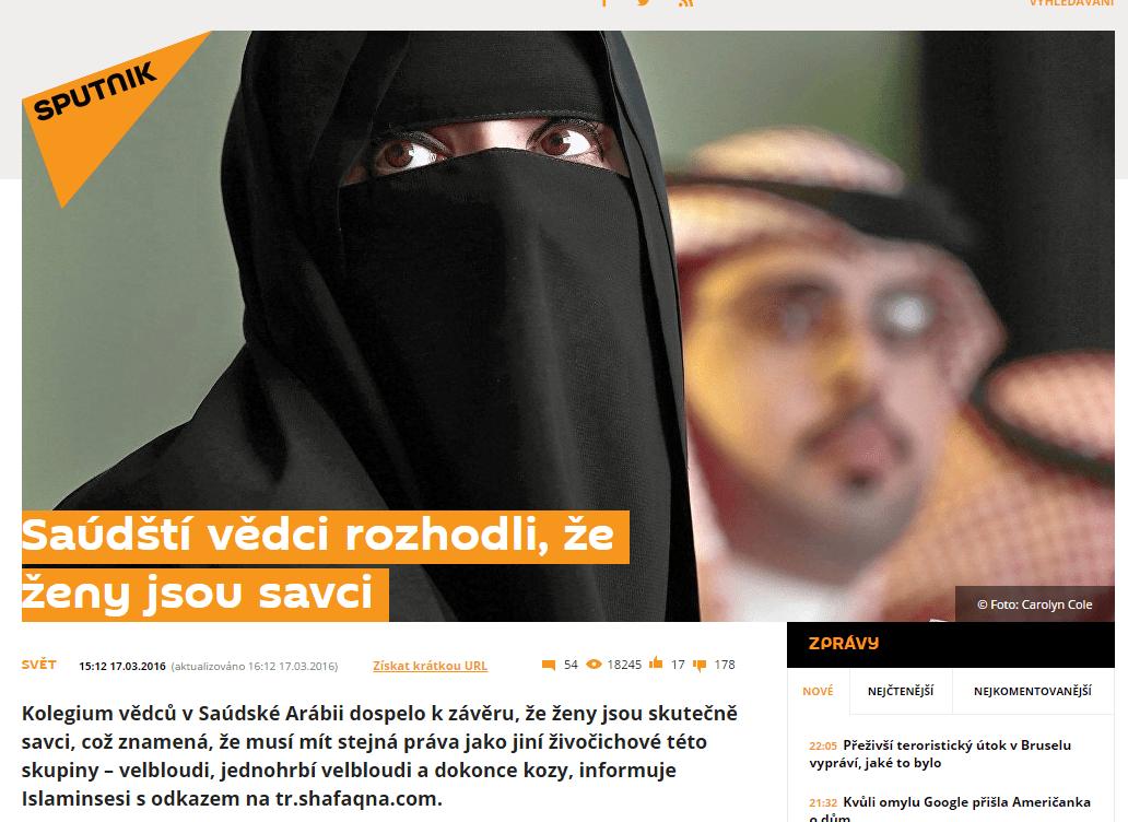 Saúdští vědci rozhodli že ženy jsou savci