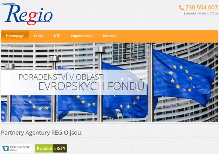 Náhled stránky společnosti (agenturaregio.cz)