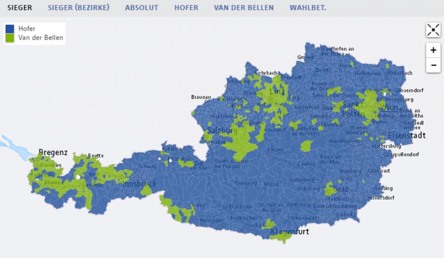 Volební mapa (www.orf.at)