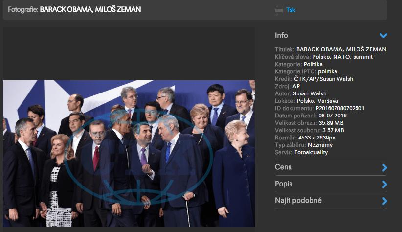 BARACK OBAMA MILOŠ ZEMAN Fotobanka ČTK