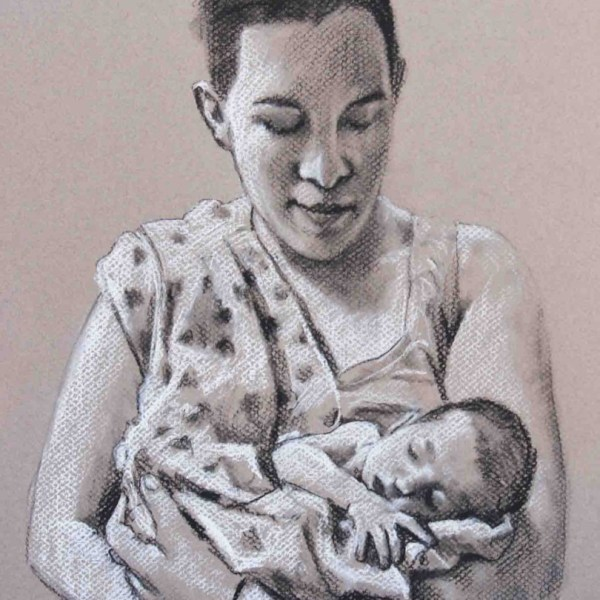 Mother and Child Conte drawings