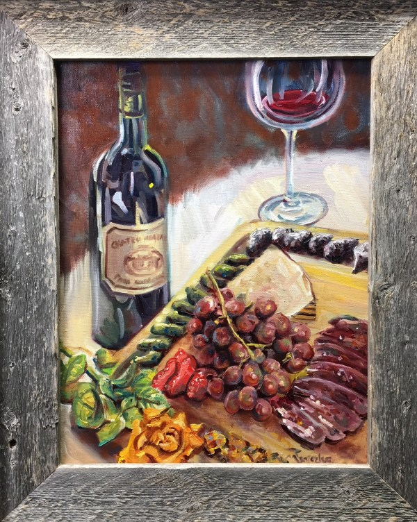 wine and charcuterie still life painted live