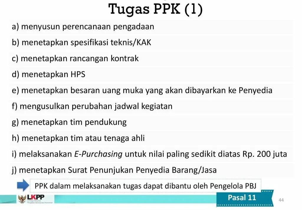 Tugas PPK Berdasarkan Perpres 16 Tahun 2018