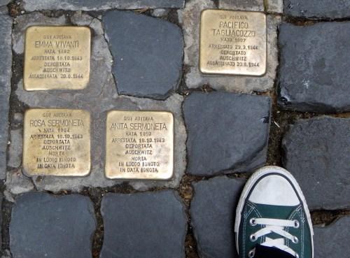 Lest we forget: memorials in Jewish quarter in Roma