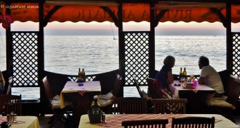 The restaurant at the beach in Piran.
