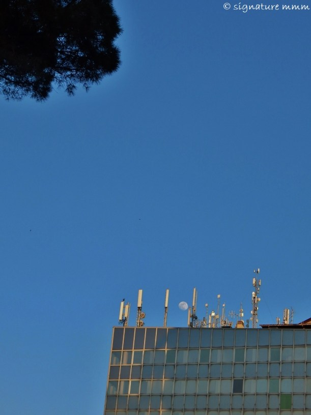 Three glances towards the moon above Torre Europe.
