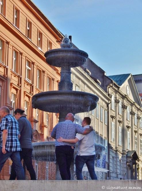 Ljubljana friends and fountain.