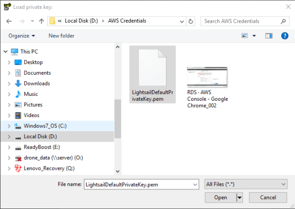 How to connect to Amazon LightSail Instance from Windows 10