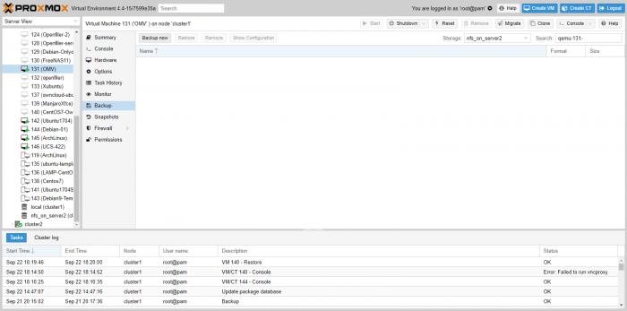 backup virtual machine on proxmox