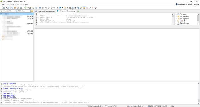 restore mysql database using heidisql