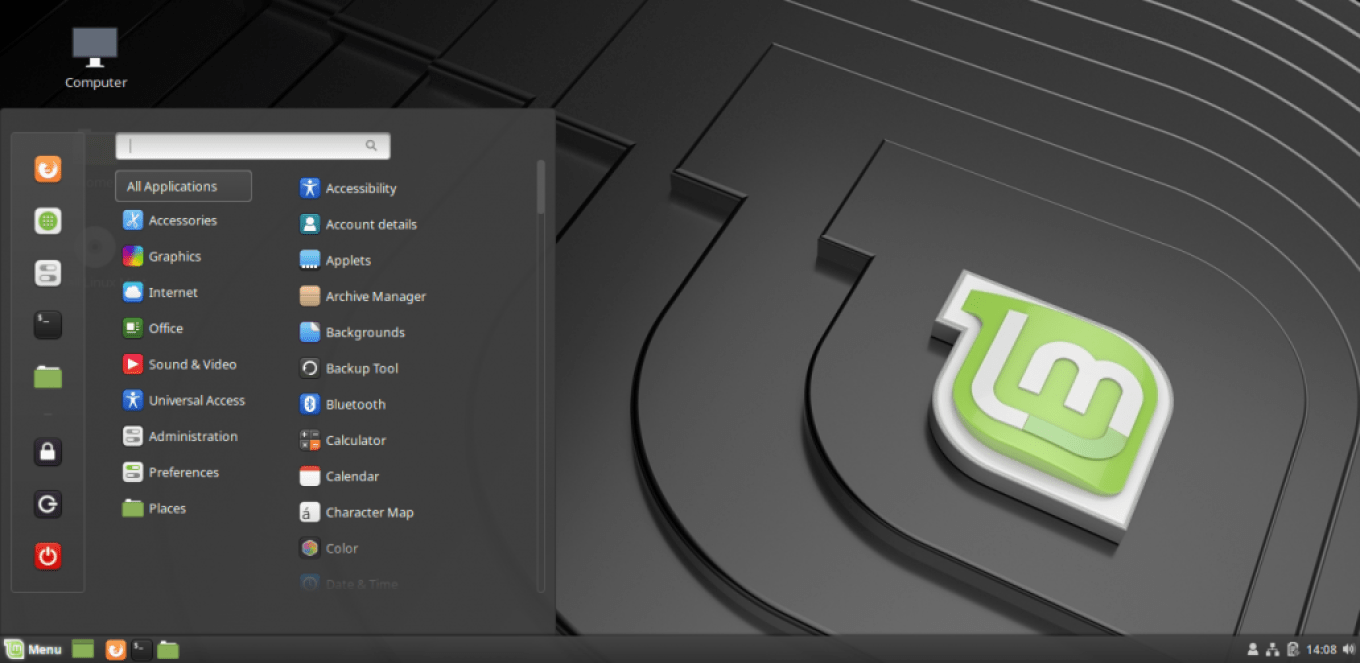 linux mint 19 desktop menu