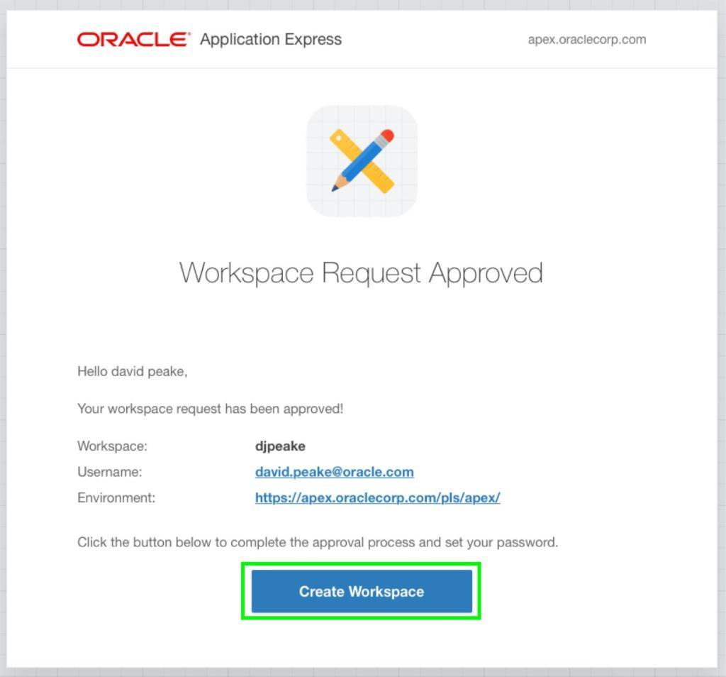 Oracle APEX Tutorial - Start a New Workspace