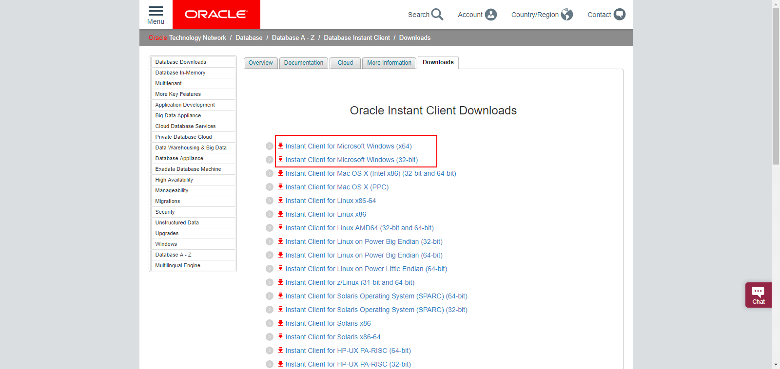 Oracle Instant Client and Oracle Instant Client Light