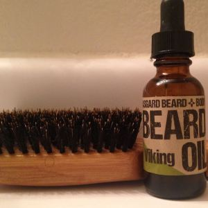 Boar bristle beard brush with beard oil