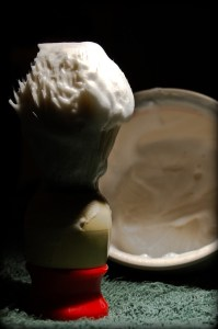 Shaving cream lathering with shaving brush and shaving bowl