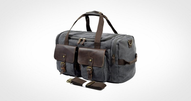 SUVOM Leather Overnight Duffle Bag Canvas