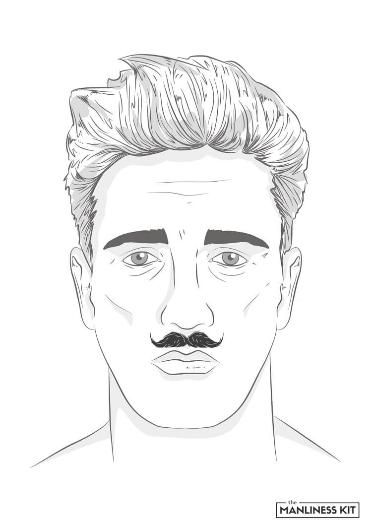 petit handlebar mustache