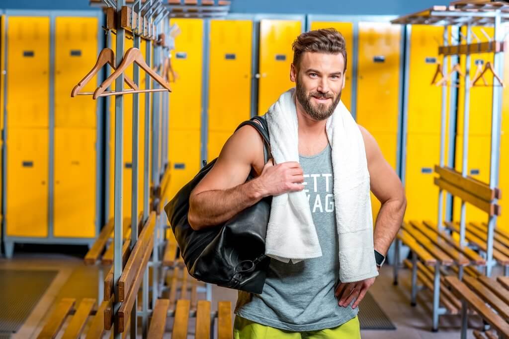 bearded man in gym