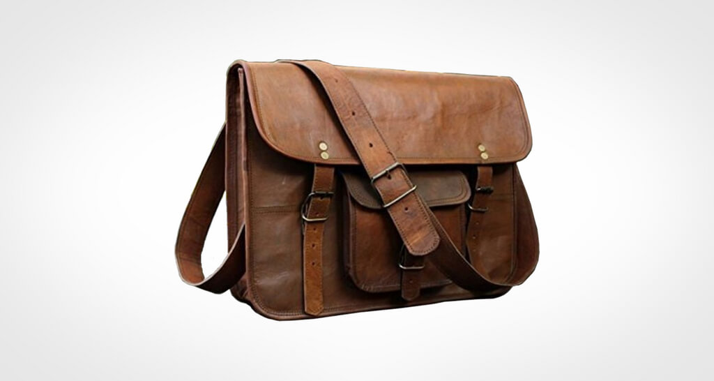 HLC Leather Unisex Real Leather Messenger Bag